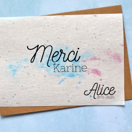 Carte à planter Merci Aquarelle