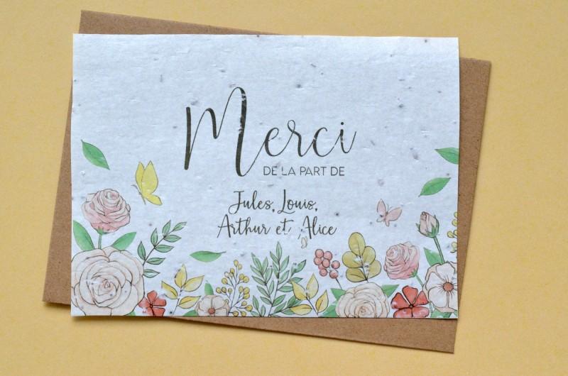 Carte à planter Merci Fleurs et Papillons Personnalisée