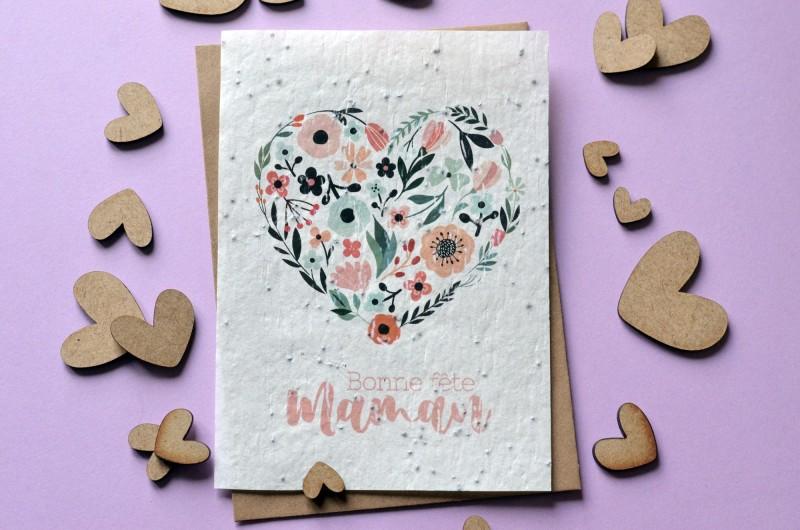 Carte à planter Bonne Fête Maman Coeur