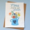 Carte à planter Merci de m'avoir aidé à grandir - Bleu
