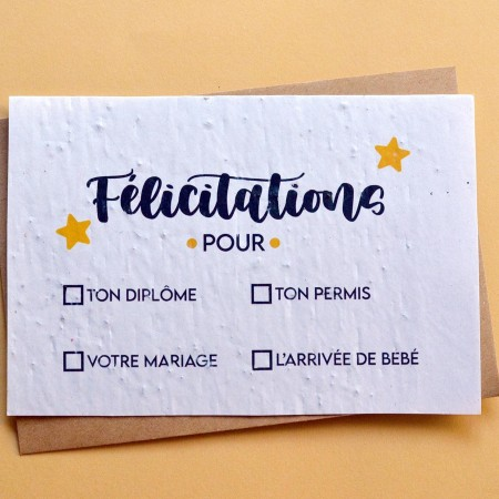 Carte à planter Félicitations à cocher