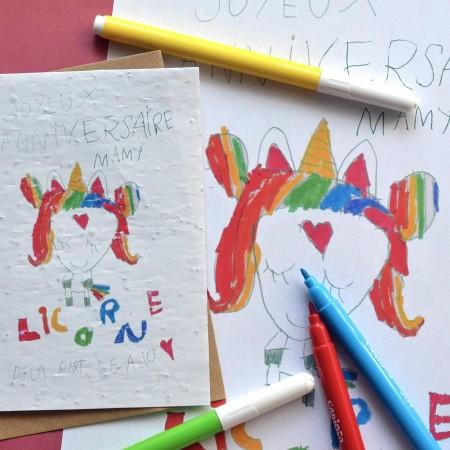 Carte ensemencée dessin d'enfant