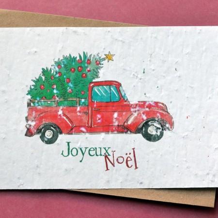 Carte à planter Joyeux Noël - Camion et Sapin