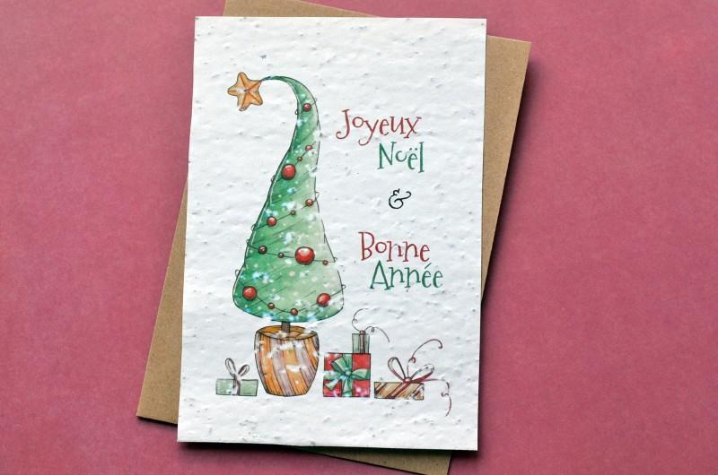 Carte à planter Noël - Sapin et Cadeaux