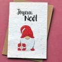 Carte à planter Joyeux Noël - Gnome de Noël