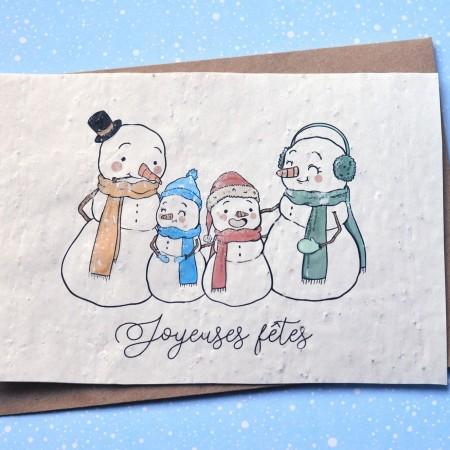 Carte à planter Joyeuses Fêtes Bonhommes de neige