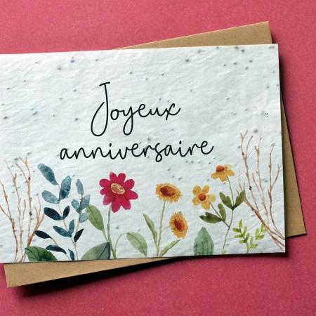Carte à planter Joyeux Anniversaire Fleuri