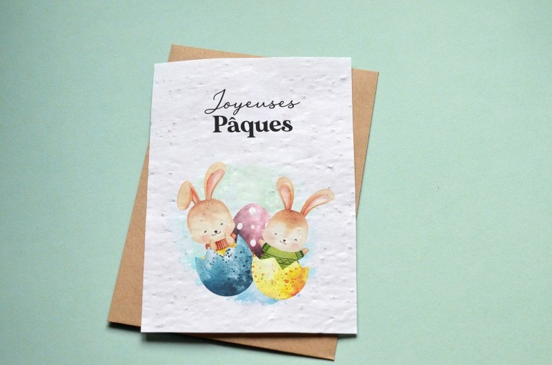 Carte à planter Joyeuses Pâques - Lapins de Pâques