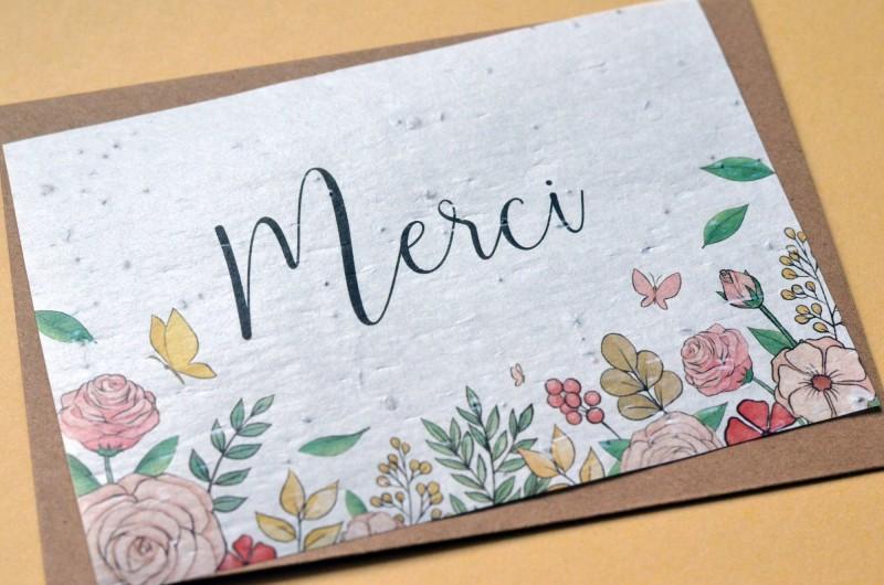 Carte à planter Merci Fleurs et Papillons