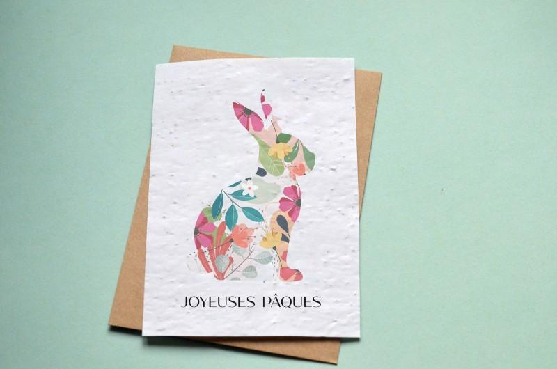 Carte à planter Joyeuses Pâques - Silhouette Lapin