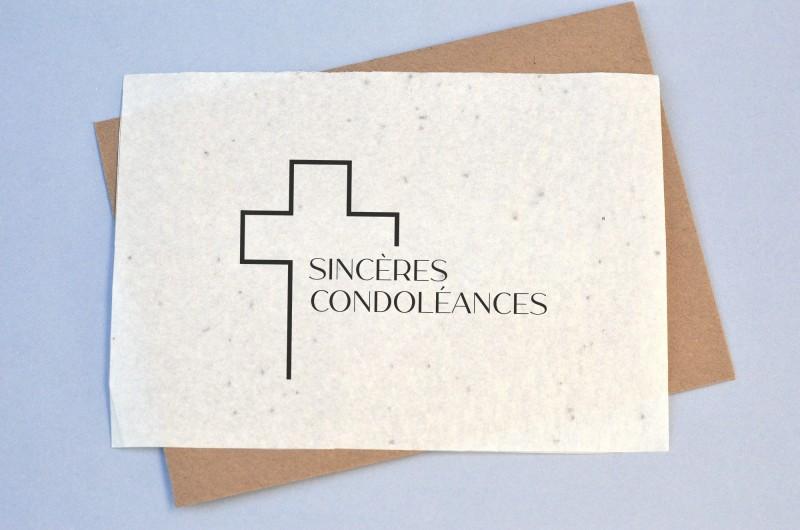 Carte à planter Condoléances - Croix