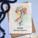 Carte à planter Anniversaire souris bleu