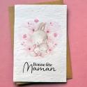 Carte à planter Bonne Fête Maman Lapin aquarelle