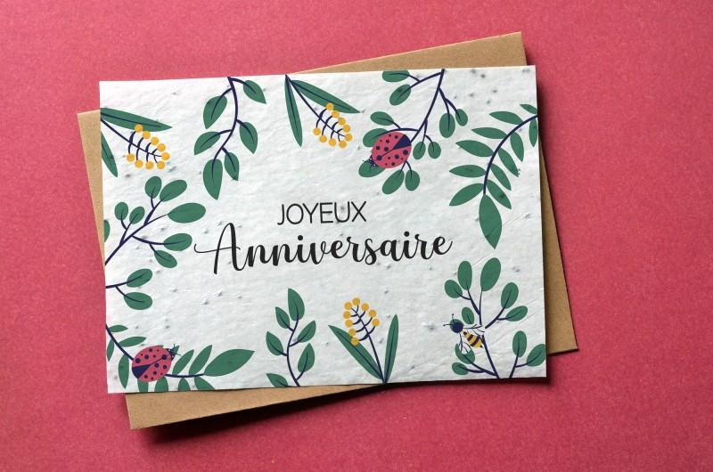 Carte à planter Joyeux Anniversaire Coccinelle