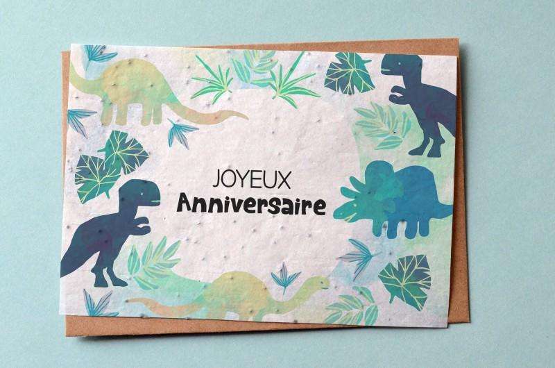 Carte à planter Anniversaire Dinosaure