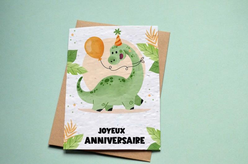Carte à planter Anniversaire Dinosaure Ballon