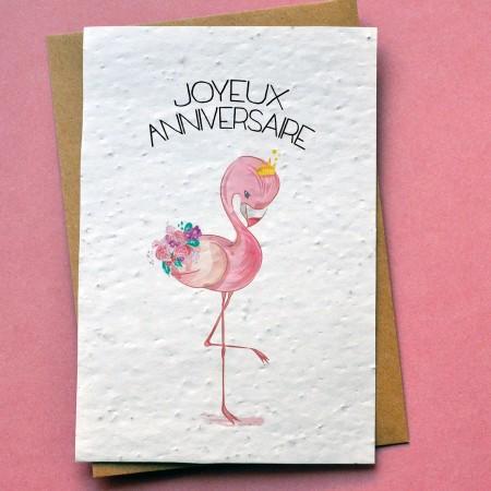 Carte à planter Anniversaire Flamant rose