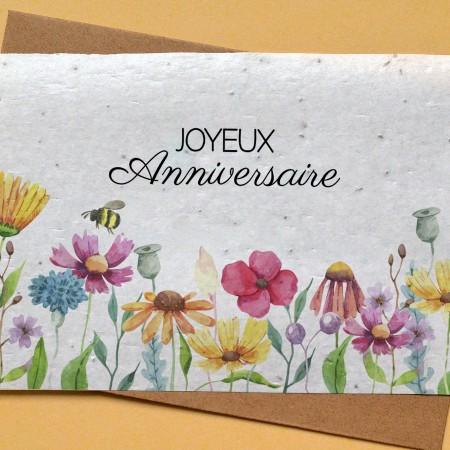 Carte à planter Joyeux Anniversaire Fleurs et abeille