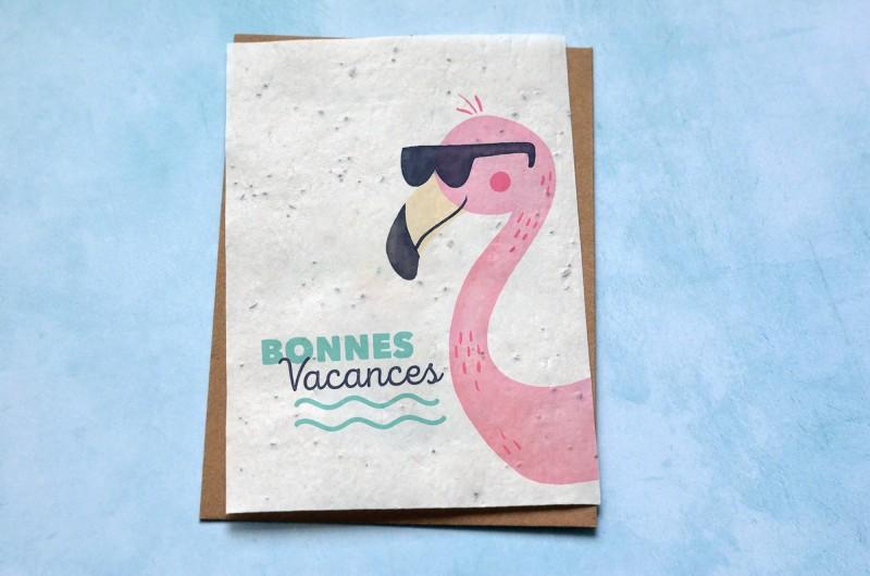 Carte à planter Bonnes Vacances Flamant Rose