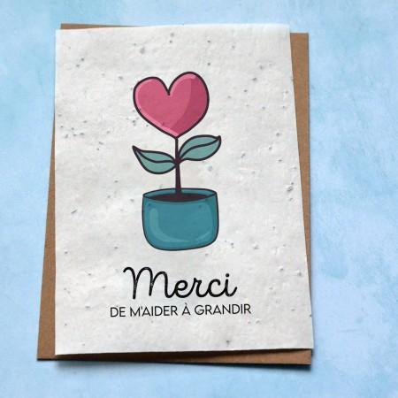 Carte à planter Merci de m'aider à grandir Coeur