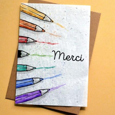 Carte à planter Merci école - Crayons