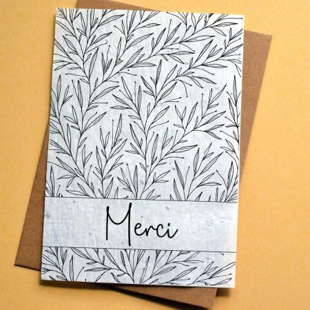 Carte à planter Merci Feuillage Noir et Blanc