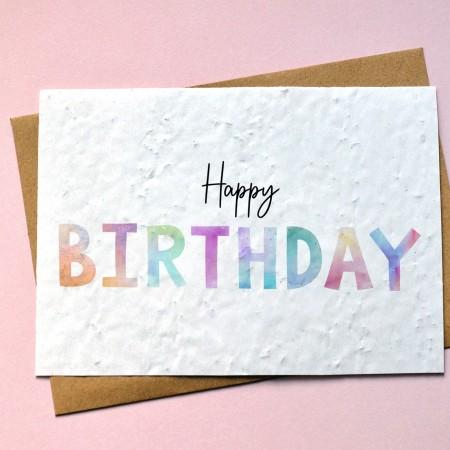 Carte à planter Happy Birthday Aquarelle