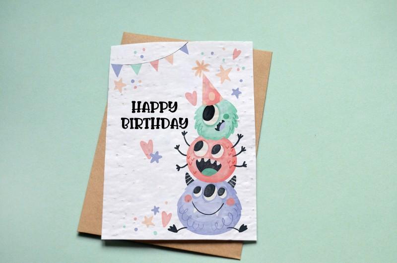 Carte à planter Happy Birthday Monstres
