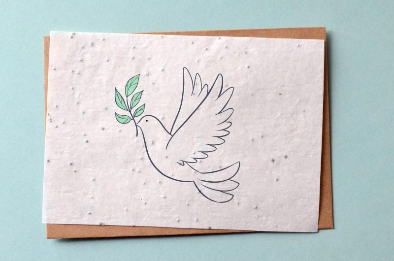 Carte à planter Colombe - Carte ensemencée Baptême