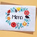 Carte à planter Merci couronne de fleurs