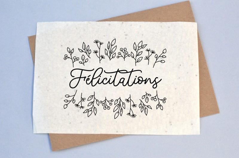 Carte à planter Félicitations Noir et Blanc