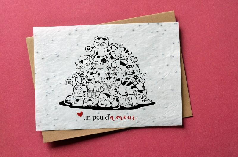 Carte à planter un peu d'amour - Chats