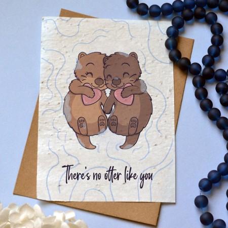 Carte à planter Loutres amoureuses