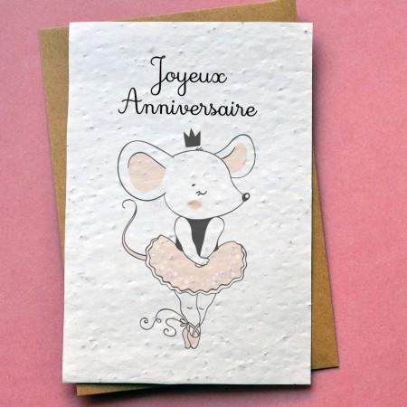 Carte à planter Anniversaire souris danseuse