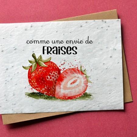 Carte à planter Fraises - Annonce Grossesse