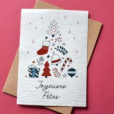 Carte à planter Joyeuses fêtes - Sapin bleu et rouge