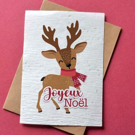 Carte à planter Joyeux Noël - Renne de Noël
