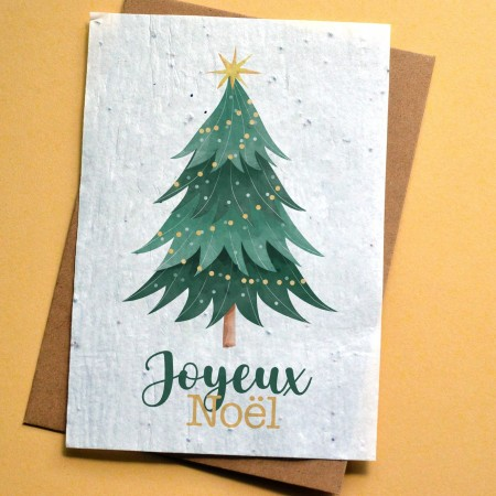 Carte à planter Joyeux Noël - Sapin Vert et Or