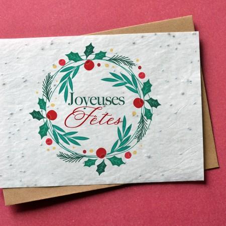 Carte à planter Joyeuses Fêtes - Couronne de Noël