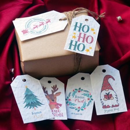 Lot de 6 étiquettes cadeau à planter Noël