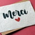 Carte à planter Merci avec un coeur
