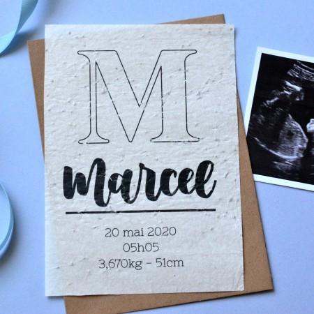 Carte à planter naissance personnalisée avec Prénom et Monogramme