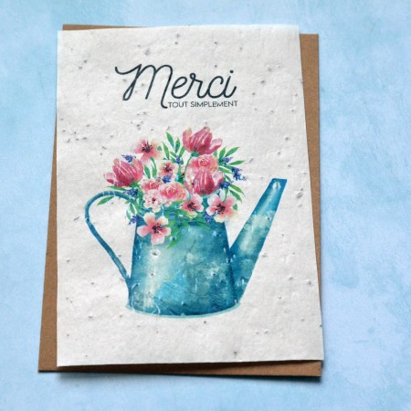 Carte à planter Merci arrosoir